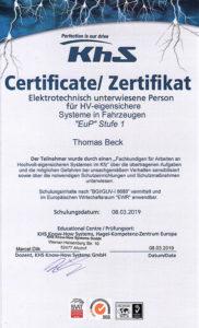 Zertifikat-Elektronisch unterwiesene Person für HV-eigensichere Systeme in Fahrzeugen